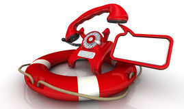 Assistance by phone. Vintage telephone in red standing on the lifebuoy with lifted handset and dialog cloud. Isolated. 3D Illustration Stock Images