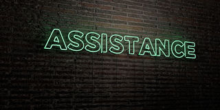 ASSISTANCE -Realistic Neon Sign on Brick Wall background - 3D rendered royalty free stock image. Can be used for online banner ads and direct mailers Stock Photography