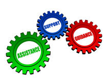 Assistance, support, guidance in color gearwheels. Assistance, support, guidance - business concept words in 3d color gearwheels vector illustration