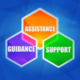 Assistance, support, guidance in hexagons, flat design. Assistance, support, guidance - business concept words in color hexagons over blue background, flat royalty free illustration