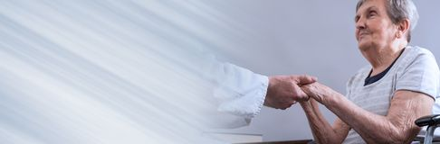 Assistance to elderly. panoramic banner stock photos