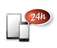 24 assistances technologiques de client de service d'heure. illustration stock