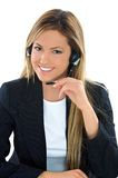Assistant. Young  assistant operator with headset Stock Photo