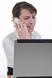 Assistant answering phone call Royalty Free Stock Images