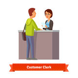 Assistant clerk working with customer. Flat style illustration. EPS 10 vector Stock Image