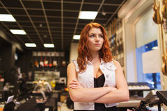 Assistant or customer at music store Royalty Free Stock Photography