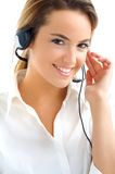 Assistant with headphones. Young assistant with headphones smiling Stock Images