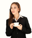 Assistant with headphones and coffee Royalty Free Stock Image