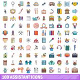 100 assistant icons set, cartoon style. 100 assistant icons set. Cartoon illustration of 100 assistant vector icons isolated on white background Royalty Free Stock Images