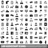 100 assistant icons set, simple style. 100 assistant icons set in simple style for any design vector illustration Vector Illustration