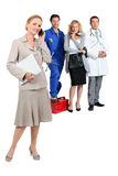Assistant, mechanic, doctor and hairdresser. Royalty Free Stock Photo