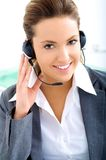 Assistant operator. Very nice assistant operator with headset Stock Photo