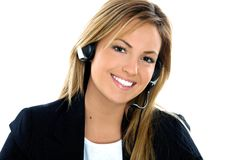 Assistant operator smiling Stock Photo