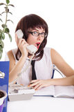 Assistant receiving some shocking news on phone Royalty Free Stock Photography