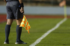 Assistant referee. At a football match Royalty Free Stock Photography