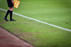 Assistant referee during soccer match Royalty Free Stock Photography
