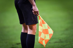 Assistant referee during soccer match Royalty Free Stock Images
