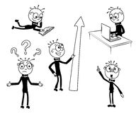 Assistant. Set of funny cartoon  man in various poses for use in  presentations,advertising, brochures,etc Royalty Free Stock Image