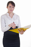 Assistant Showing a folder Royalty Free Stock Photos