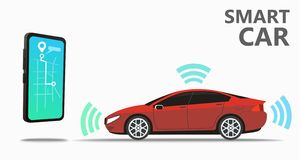 Assistant to control the car, navigate and control. The machine using smarton. Map with the starting and ending point of the route on the smartphone screen royalty free illustration