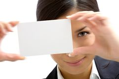 Assistant with white card. Assistant showing white a card Royalty Free Stock Photo