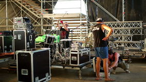 Assistants equipment musician group install the stock video
