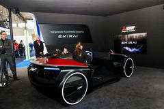 Assisted driving concept car by Mitsubishi on exhibition Cebit 2017 in Hannover Messe, Germany Royalty Free Stock Images