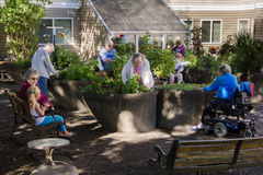 Assisted Living Gardening Group. Residents of an assisted-living facility tend their gardens in wheelchair accessible containers royalty free stock image