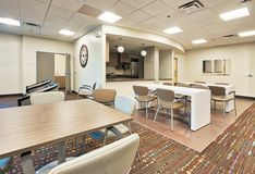 Assisted Living for Seniors Dining Room. Newly constructed Arizona state sponsored senior citizens assisted living apartments dining room in Phoenix stock photos