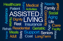 Assisted Living Word Cloud. On Blue Background royalty free stock image