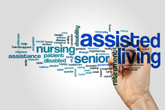 Assisted living word cloud concept on grey background.  royalty free stock photography
