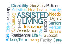 Assisted Living Word Cloud. On White Background stock image
