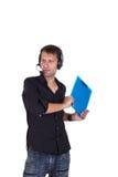 Assistent som håller hans dokument Arkivfoto