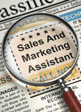 Assistente de Job Opening Sales And Marketing 3d Imagem de Stock
