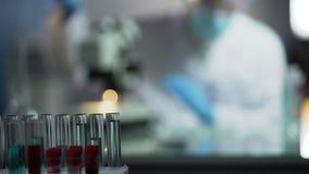 In assistente di laboratorio esperto che conduce esame genetico per stabilire paternità stock footage