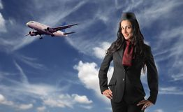Assistente di volo Immagine Stock