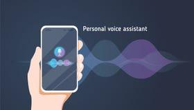 Assistente pessoal e reconhecimento de voz no app móvel A ilustração lisa do vetor do conceito da mão humana guarda o smartphone Imagens de Stock