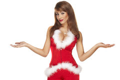Assistente sexy di Santa su bianco Fotografia Stock Libera da Diritti