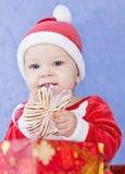 Assistente sveglio di Santa del neonato Fotografie Stock