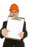 Assistente tecnico che indica con la penna Fotografia Stock