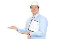 Assistente tecnico con il casco bianco fotografie stock libere da diritti