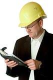 Assistente tecnico con il pianificatore di giorno Fotografia Stock Libera da Diritti