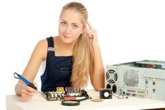 Assistente tecnico di riparazione del calcolatore Fotografia Stock