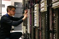 Assistente tecnico di telecomunicazioni Fotografie Stock Libere da Diritti