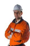 Assistente tecnico sicuro isolato sopra Immagini Stock