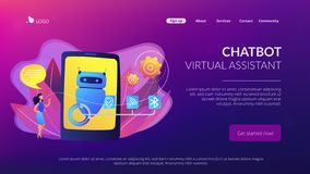 Assistente virtuale di Chatbot via la pagina d'atterraggio del messagingconcept illustrazione di stock