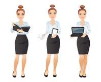 Assistenten för den unga kvinnan i olikt poserar stock illustrationer