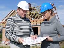 assistenti tecnici di costruzione Fotografia Stock