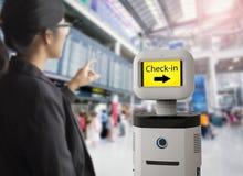 Assistentrobot i flygplats Arkivfoton