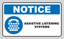 Assistive listening systems sign. Medical consultration sign. White icon on blue sign as background. Isolated on white Royalty Free Stock Images